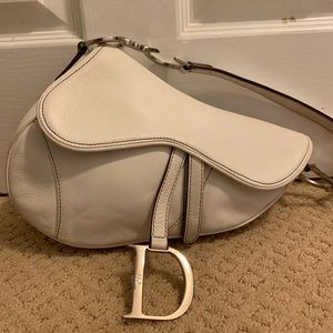 Authentic vintage Dior saddle white leather